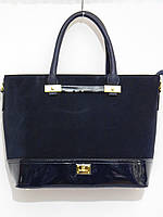Каркасная деловая сумка, натуральный замш темно-синий
