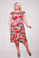 Нарядное летнее платье Мальвина коралл 50-58 размеры