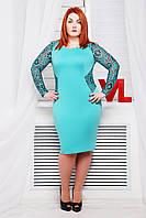 Нарядное трикотажное платье Адель мята 52-56 размеры