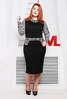 Нарядное трикотажное черно-белое  платье Люси 48-52 размеры