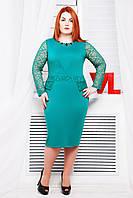 Нарядное трикотажное бирюзовое платье Мишель 48, 50, 56 размеры