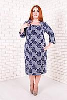 Трикотажное женское платье Катрин  мелкая роза 52-58 размеры