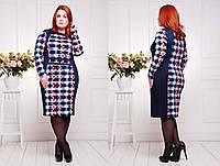 Платье больших размеров Британи клетка 52-54 размеры