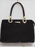 Каркасная женская сумка, замшевая с золотой фурнитурой кофе