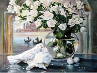 Алмазная вышивка Любовь и голуби 40 х 30 см (арт. FS374) полное заполнение