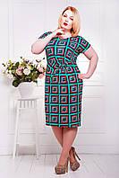 Летнее платье большого размера Кора бирюза 56