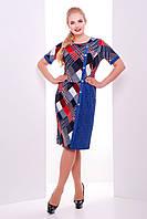 Стильное летнее платье Глория джинс красное 52-58 размеры