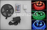 Светодиодная лента PVC 3528 60 LED RGB 5 метров Полный комплект (блок управления, пульт ДУ, адаптер 220V)