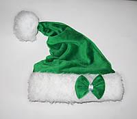 Новогодняя Шапка Детская Деда Мороза Колпак Санта Клауса Santa Claus Эльфа , Гнома зеленая с бантом