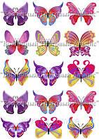 Печать съедобного фото - Формат А4 - Вафельная бумага - Бабочки №1