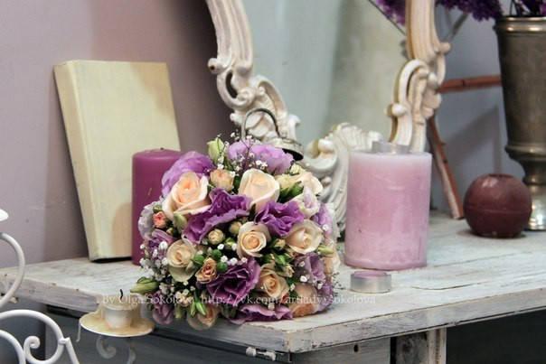 Свадьба в цветовой палитре лаванда+персик с элементами кружева 10