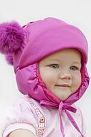 Зимняя шапка на синтепоне для малышей М 123123  Розовый яркий