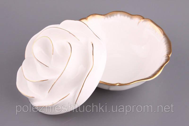 """Салатник с крышкой круглый 15 см. """"Лепестки розы"""", фарфоровый, белый"""