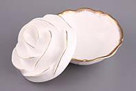 """Салатник с крышкой круглый 15 см. """"Лепестки розы"""", фарфоровый, белый, фото 1"""