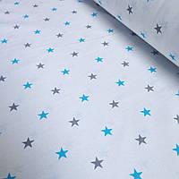 Лоскуток ткани с бирюзовыми и серыми звёздами 80*160 см  №178