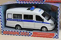 Полицейская машина откр. двери, звук, свет фар, на батарейках, в коробке 24*12*11 см
