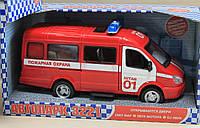 Пожарная машина откр. двери, звук, свет фар, на батарейках, в коробке 24*12*11 см