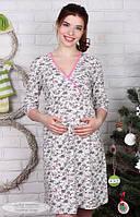 Ночная сорочка для беременных Alisa р. 44-50 ТМ Юла Мама молочный с розовыми цветами NW-1.5.1