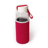 Бутылка стеклянная с термочехлом  Millennium, красная 450 мл