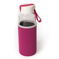 Бутылка стеклянная с термочехлом  Millennium, фиолетовая 450 мл