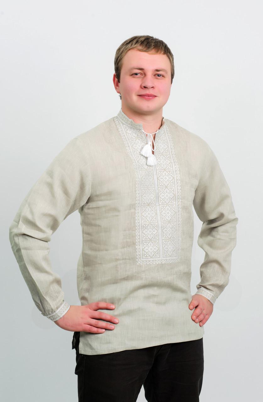 Вишиванка чоловіча сірий льон, біла вишивка, довгий рукав 54 розмір