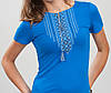 Женская вышитая футболка. Орнамент синяя 2XL (50-52), фото 2