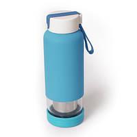 Бутылка стеклянная с ситечком  Integrum, голубая 450 мл
