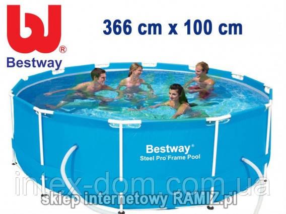 Круглый каркасный бассейн Bestway Steel Pro, арт. 56260, размер 366x100 см