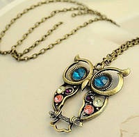 Подвеска сова со стразами, античная бронза в винтажном стиле на длинной цепочке