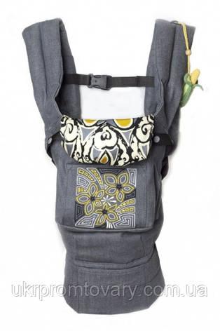 """Эргономичный слинг-рюкзак """"Цветочная геометрия"""" серый джинс, фото 2"""