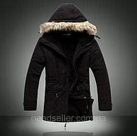 Мужская зимняя куртка парка на меху В НАЛИЧИИ, чёрный (PS_01) РАЗМЕР 44, 46