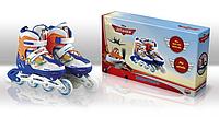 Роликовые коньки детские раздвижные Disney Planes Самолетики 31-34 светящееся колесо OR