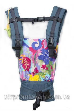 """Кенгурушка эргономичный рюкзак-переноска для детей """"Цветочная геометрия"""" голубой джинс, фото 2"""