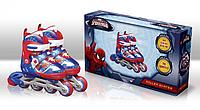 Роликовые коньки детские раздвижные Disney Spider Man Спайдер Мен 31-34 светящееся колесо OR