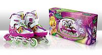 Роликовые коньки детские раздвижные Disney Fairies Фея 35-38 светящееся колесо OR