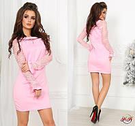 Стильное платье-мини с гипюровой отделькой