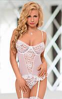 Корсет белого цвета с подвязками для чулок Yvette S 142121