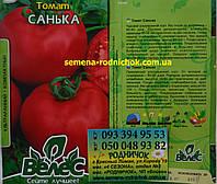 Детерминантный ультраранний томат с красными округлыми плодами без зеленых пятен у плодоножки Санька