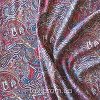 Трикотажное полотно вискоза/эл, турецкие огурцы на коричневом