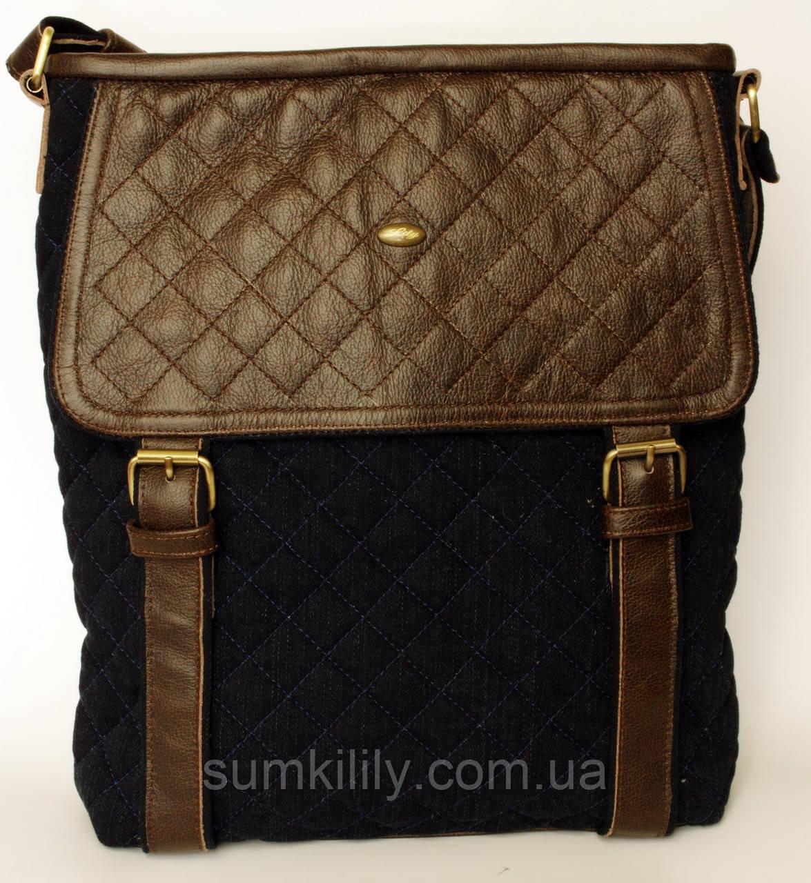 Джинсовая сумочка с темно-коричневой кожей 2