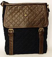 Джинсовая сумочка с темно-коричневой кожей 2  , фото 1