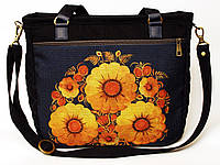 Джинсовая сумочка саквояж подсолнухи на синем  , фото 1