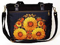 Джинсовая сумочка саквояж подсолнухи на синем