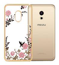 Чехол накладка силиконовый TPU Luxury Flower для Meizu Pro 6 золотой