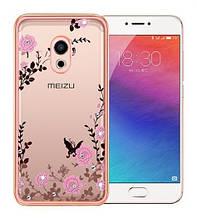 Чехол накладка силиконовый TPU Luxury Flower для Meizu Pro 6 розовый