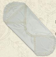 Крыжма для крещения Мрія двойная атлас, кулир 75х80 см белый/ молочный цвет Бетис