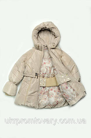 Куртка-пальто зимняя для девочки (светло-бежевый), фото 2