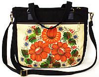 Джинсовая сумочка саквояж три красных мака , фото 1