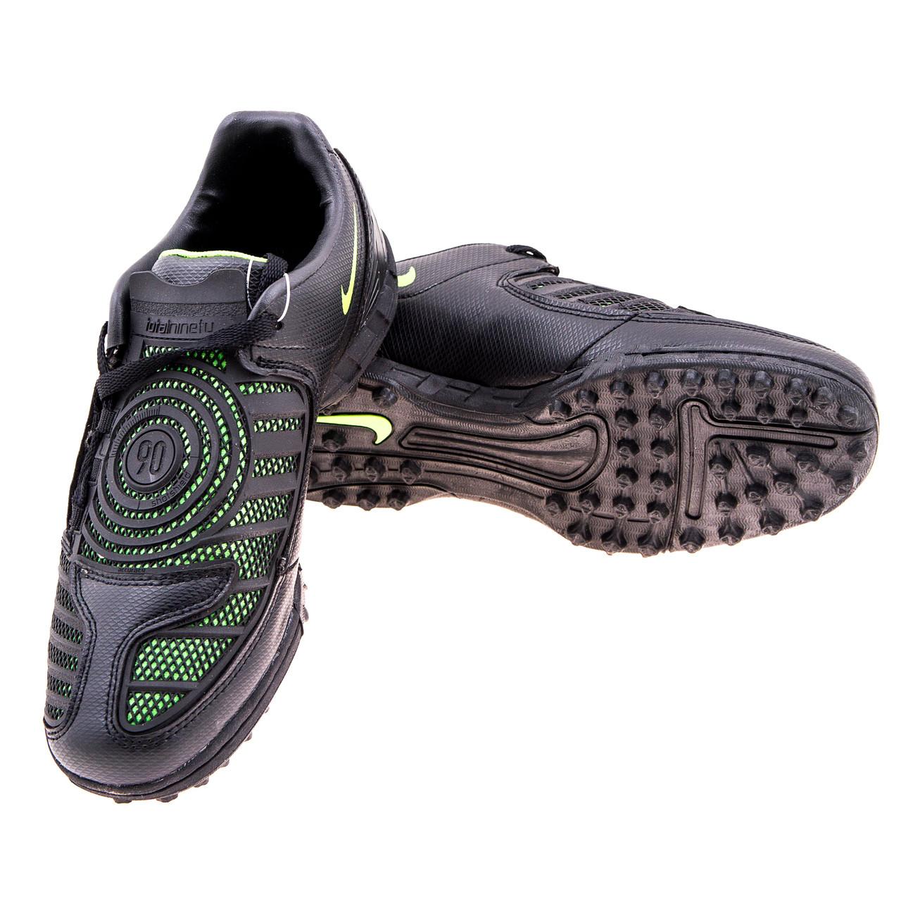 """Бутсы """"Сороконожки"""" Nike PU черно-зеленые 310-2"""