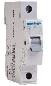 Автоматический выключатель Hager 1П 16А тип С MC116A